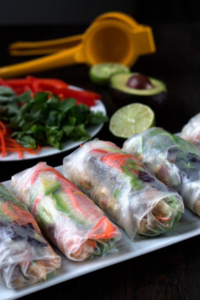 Chicken and Vegetable Salad Rolls! Are bundles of freshness  made with chicken, carrots,pepper,avocado,ginger,cilantro,and our favorite dipping sauce.