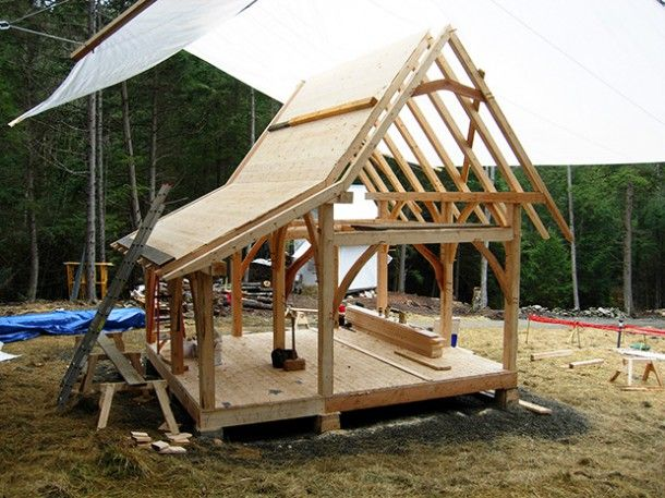 Timber framed tiny house with through-mortise staircase