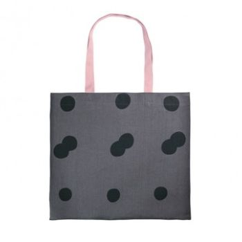 Gail Bryson Slate/Pink Holloway Spot Large Tote: Hand-printed spot tote bag made from good quality slate linen. Ink printed spots with contrasting pink cotton tape straps. All bags are printed in London and hand-sewn by the ladies of HMP Holloway.