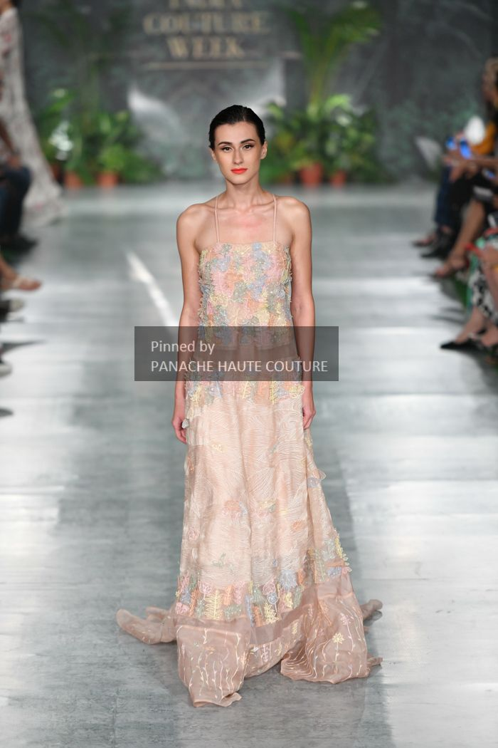 b603c79cfc Blush colour Multi-colour embroidered wedding dress from India Couture Week  2018. Contact us through WhatsApp +61470219564 to order or customisations.
