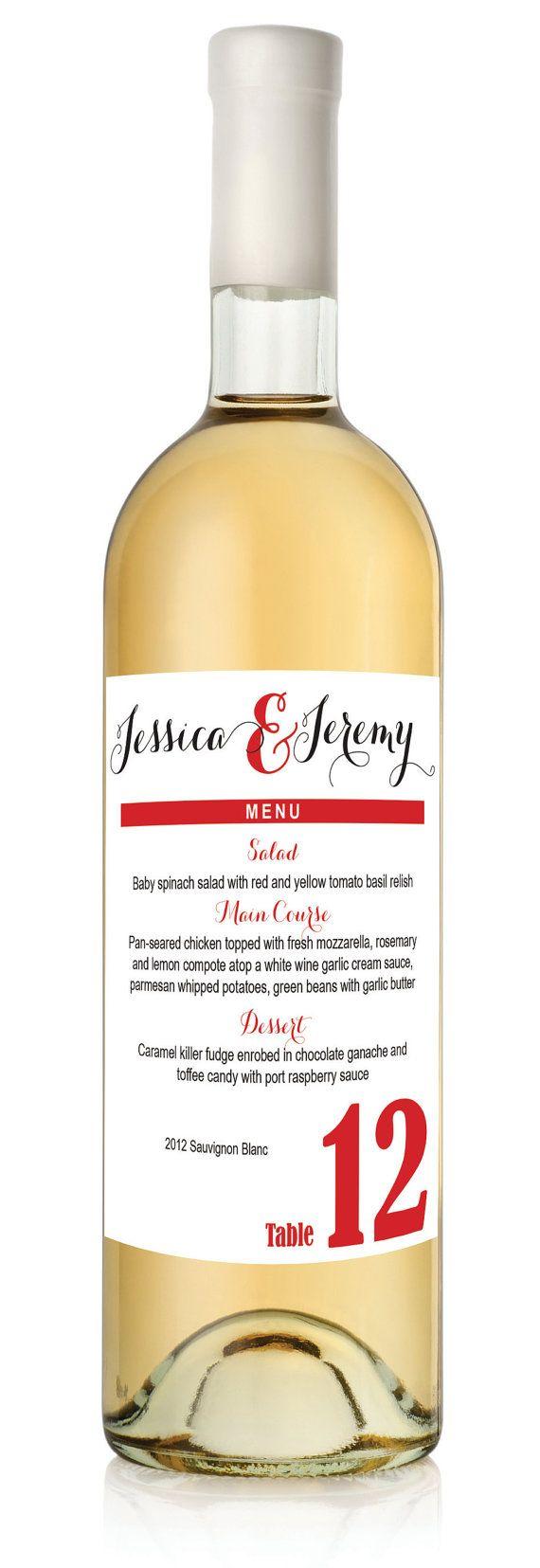 Custom Menu Table Number Wine labels for Weddings or Dinner Parties - set of twelve (12)