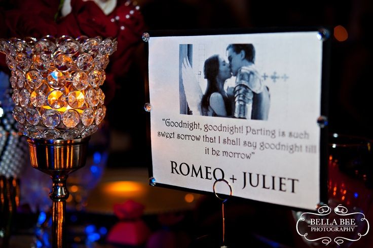 Movie table cards with a photo and a quote -- love......minus the movie, just a love quote and the picture