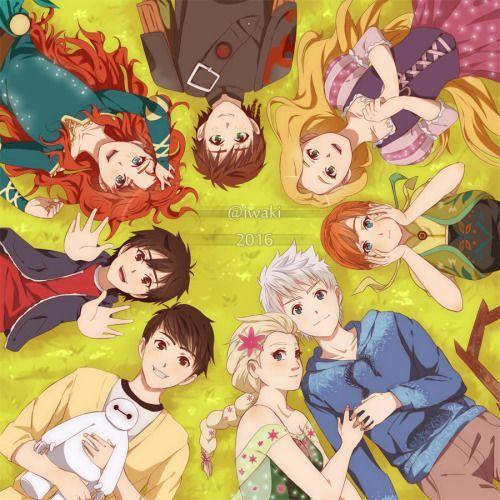 Personajes Animados Tadashi, Hero, Merida, Hipo, Rapunzel, Ana, Jack y Elsa Oh por Dios, si me acorde :'D