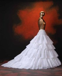 New Stayle White Ivory 5 Layers Bridal Petticoat Tulle Ball Gown Long Petticoats Wedding Underskirt P-001