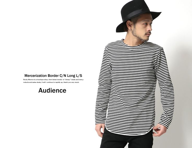 【Upscape Audience】国産/日本製高密度シルケットボーダーロング丈クルーネックTシャツ