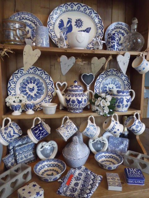 One of the new dressers. This one is classic blue & white,Emma Bridgewater,Burleigh,& great accessories all for sale online or in the shop.