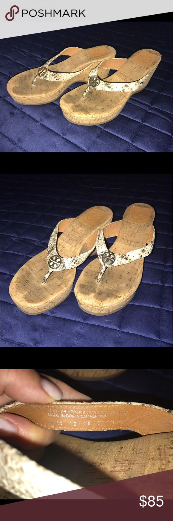 Shop Women's Tory Burch White Gold size Sandals at a discounted price at  Poshmark. Description: Tory Burch cork wedges with snake skin leather  straps.