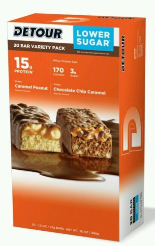 Detour Protein Bars Lower Sugar (20 Bars) 15 Grams Whey Protein Bar 170 Calories