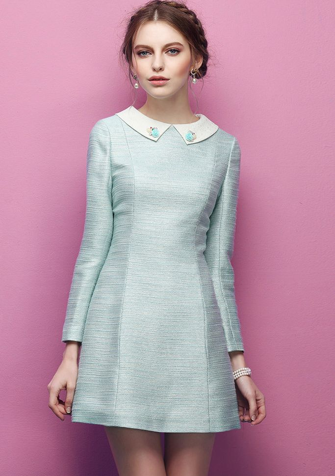 Turquoise Bead Lapel Long Sleeve Slim Dress