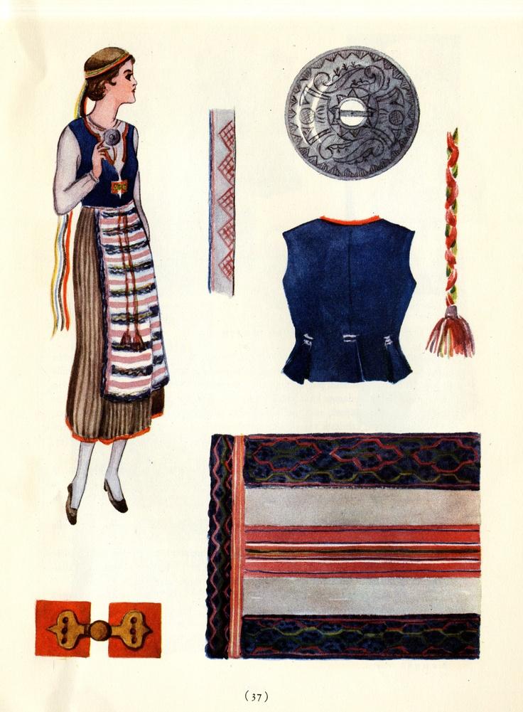 Ruokolahti woman's dress  taken from Suomalaisia Kansallispukaja [Finnish National Costume] by Tyyni Vahter, illustrations by Greta Strandberg and Alli Touri