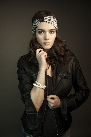 Ladies: Striped bamboo headband with black perforated leather loop