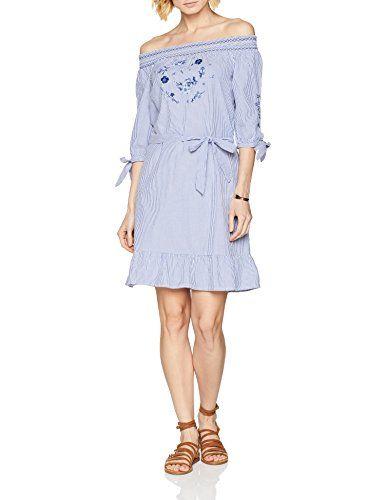 8898b1942ce s.Oliver Damen Kleid 14.804.82.7994 Blau (Pazific Blue Struc. Strip 54H8
