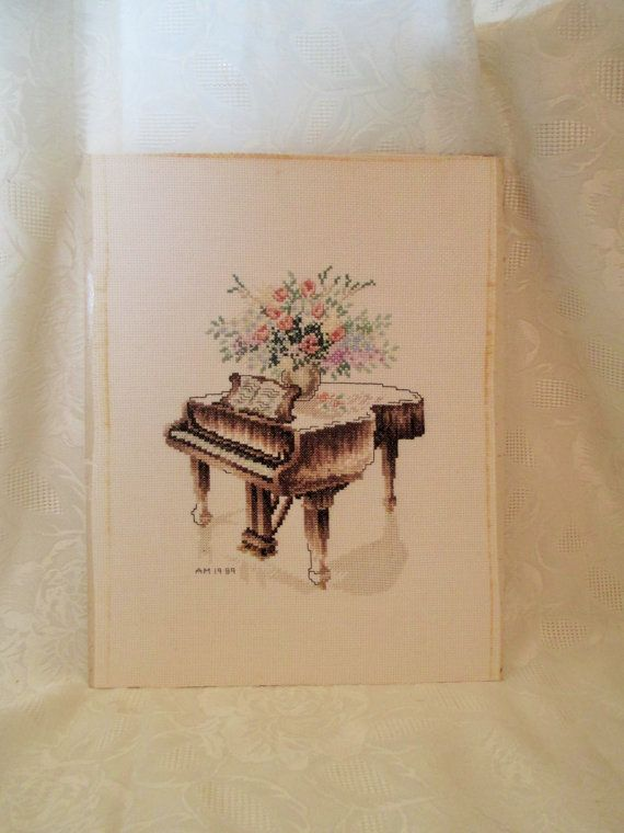 Piano Cross Stitch Grand Piano Embroidery by LuckyPennyTrading