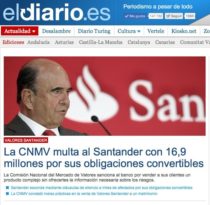 Portada eldiario.es 17 de Febrero 2014. La CNVM multa al Banco Santander.