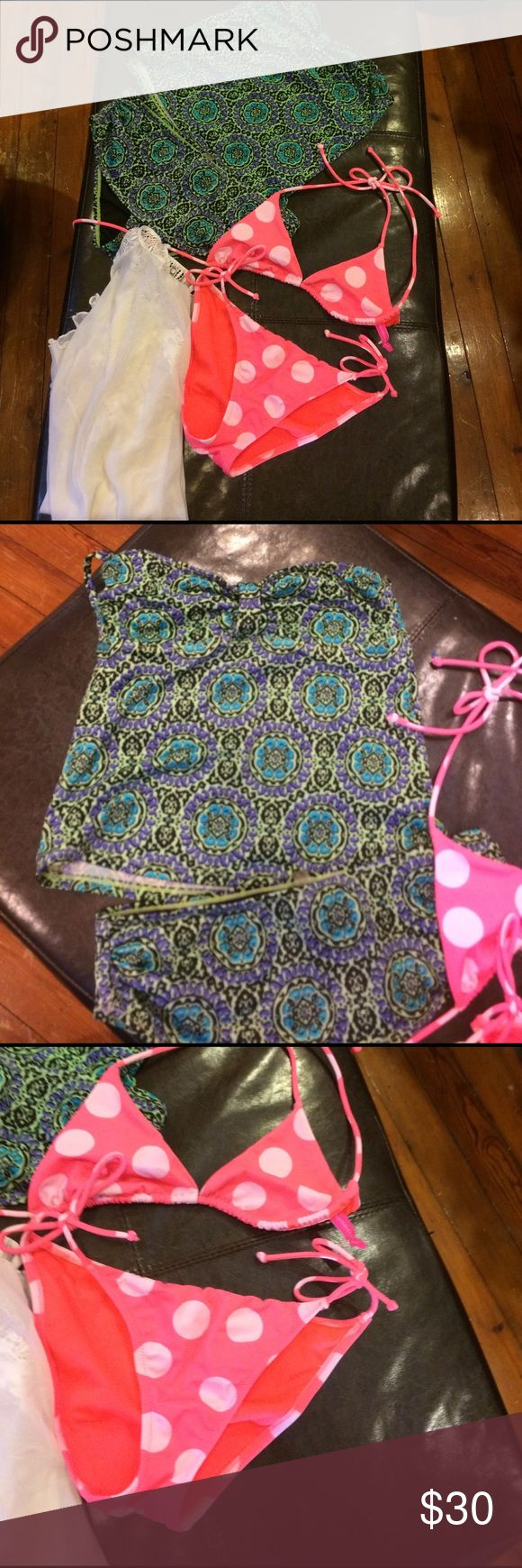 Victoria's secret beach ready Lot size small. 2 size small Victorias secret swim suits. EUC. The tankini is missing a strap my daughter wore it strapless & we have yet to find the other strap yet. The sheer white top is not from Victoria secret but the Escada collection. Great little Lot to get summer ready! Smoke free home dog mom. Victoria's Secret Swim