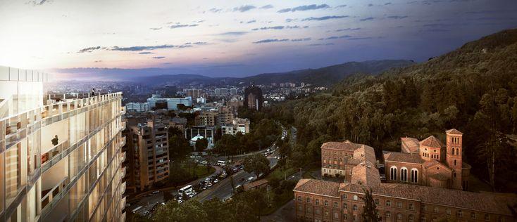 Richard Meier Designs Two-Tower Residential Development for Bogota,View from East. Image Courtesy of Richard Meier & Partners