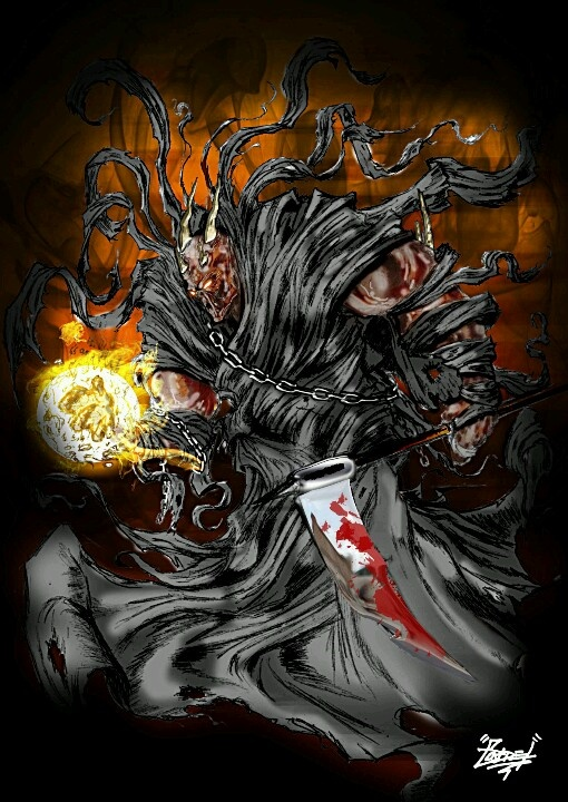 """""""The Darkness"""" - a twisted version of death. The look was inspired by Spawn. Hand drawn and coloured in Photoshop."""