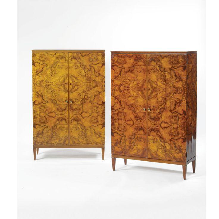 Gio Ponti; Briarwood, Walnut and Patinated Bronze Wardrobes for the Schejola…
