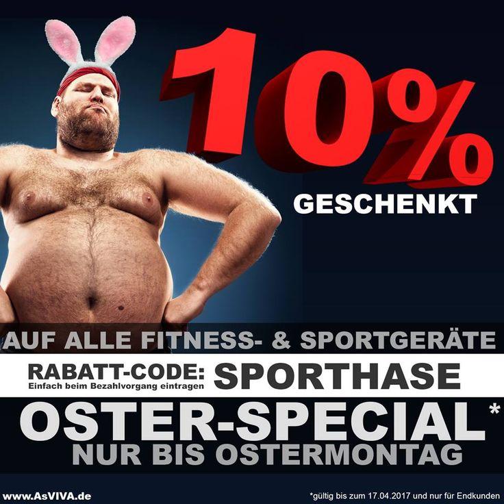 10% OSTER-RABATT* auf alle Fitness- und Sportgeräte Erhalte unter www.AsVIVA.de auf Deinen gesamten Warenkorb bis Ostermontag 10% OsterRabatt* Einfach folgenden Rabatt-Code während des Bestellvorgangs eintragen und sportlich sparen. - Rabatt-Code: SPORTHASE Frihe Ostern wünscht Euch... Euer Team von: AsVIVA.de - Fitness made in germany #heimtrainer #heimtrainer #fitnessgerät #fitness #sport #rudergerät #laufband #indoorcycle #stepper #vibrationstrainer #workout #gutschein #ausdauer #fatburn