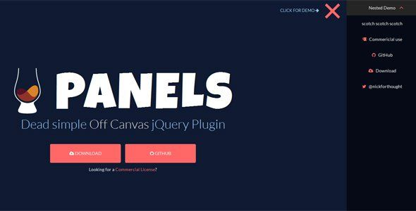 Off-Canvas slide is a unique jQuery effect that was pioneered by Twitter's blogging platform, Medium. Then came along Ghost CMS and nearly all of its themes contained off-canvas navigation bars.