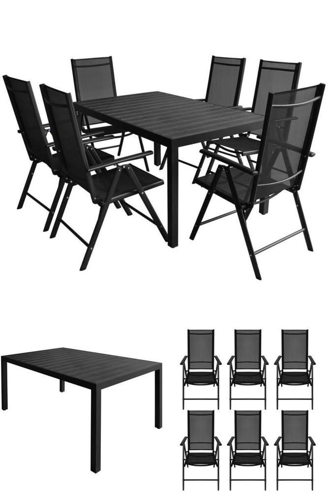 Outdoor Metal Dining Set Garden Patio Balcony Table 6 Recliner