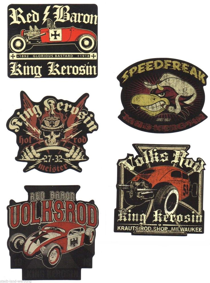 33 king kerosin set red baron aufkleber sticker rockabilly hot rod oldschool