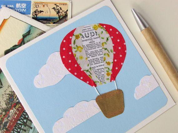 Goodbye Card Hot Air Balloon Card Farewell Card by AusPolarCards