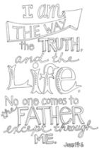 FREE Scripture Doodle colouring page for kids; John 14:6