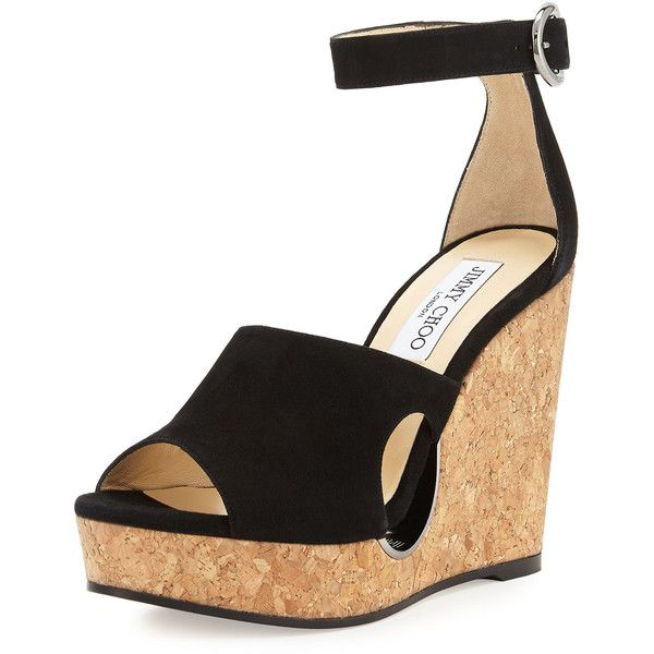 Jimmy Choo Neyo Suede/Cork Ankle-Wrap Wedge Sandal ($580) ❤ liked on Polyvore featuring shoes, sandals, black, black platform shoes, ankle strap platform sandals, platform sandals, wedges shoes and black ankle strap sandals