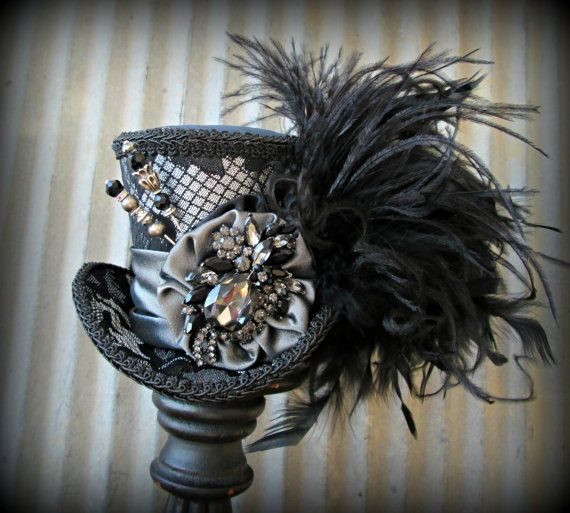 Black and Silver Opera Mini Top Hat, Alice in Wonderland, Mad Hatter Hat, Steampunk,Tea Party Hat, Mad Tea Party, Silver Hat, Medium mini