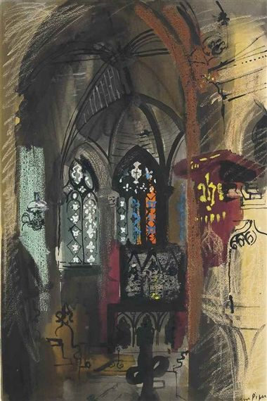 ✽   john piper  -  'compton valence'  -  1954  -  watercolour, ink gouache and…