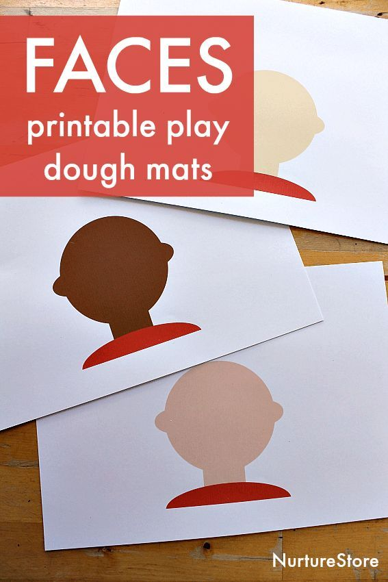 Multicultural faces printables play dough play mats | Easy