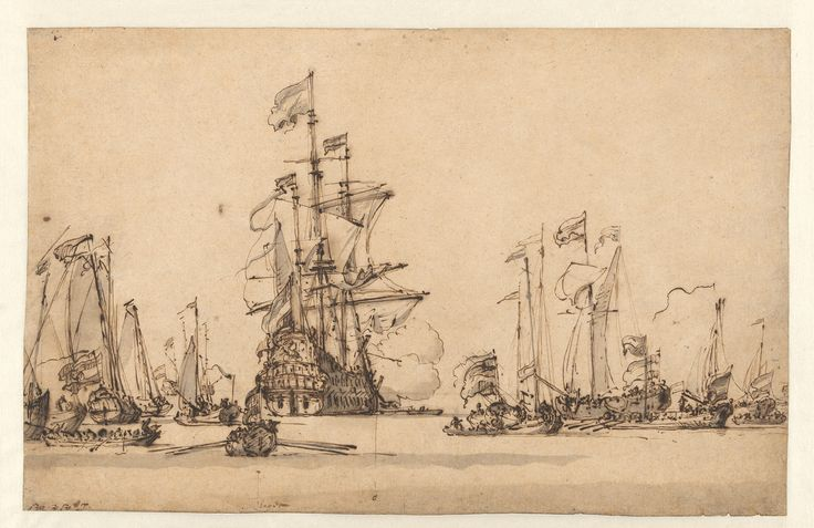 De Gouden Leeuw Coming to Anchor in the IJ, Willem van de Velde II, c. 1673 John and Marine van Vlissingen Art Foundation