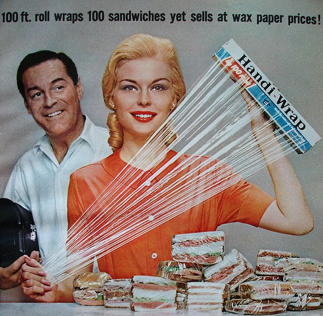 Vintage 1950s picture shows a woman 'showcasing' the new product, which was typical of that era (having women in ads).