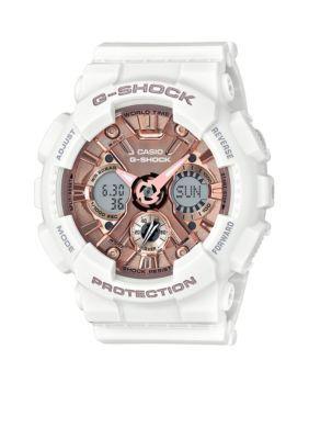 G-Shock White Mens White Band with Rose Gold-Tone Metallic S-Series G-shock Watch