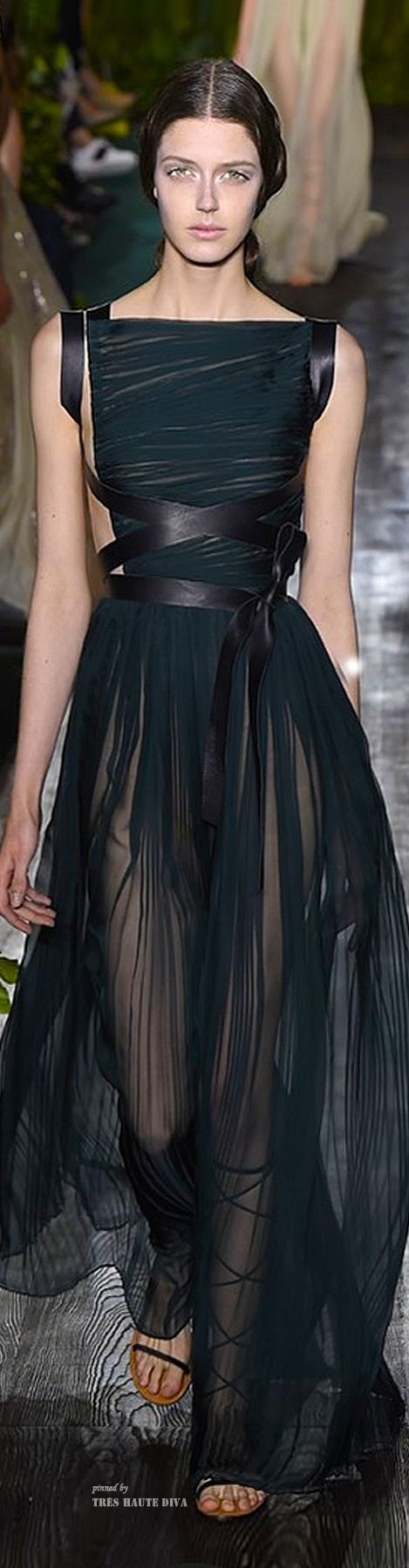 Valentino couture long black sheer dress with ribbons 2014