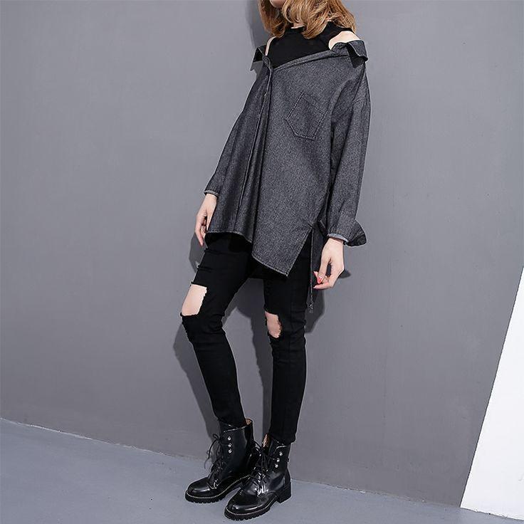 Denim Shirt Female Long Sleeve 2017 Spring New Long Korean Ladies Denim Shirt Blouse Round Neck Tops