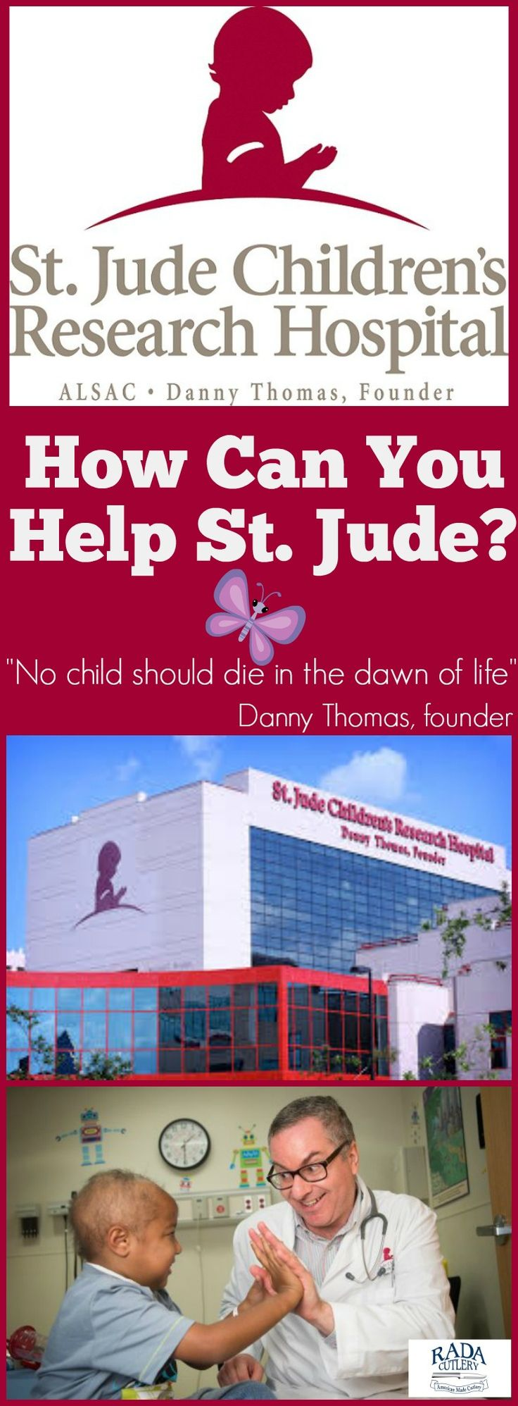 St. Jude relies on the charitable donations of kind people across the world. 75% of St. Jude's is covered by public contributions, meaning that every dollar is important. As of 2012, 81% of every dollar donated to St. Jude went directly to treatment and research. When donating to St. Jude, there's no such thing as a small donation, only an important one!  If you or someone you know is passionate about children's healthcare, a Rada Cutlery fundraiser is a great way to help! #stjude…