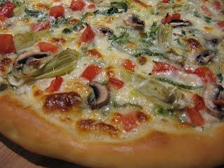 Round Table Gourmet Veggie Pizza - Copy Cat Recipe (low sodium) from Please, don't pass the salt!