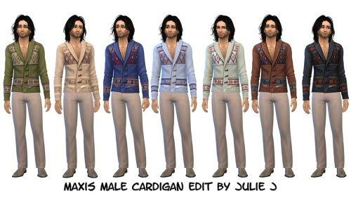 Maxis Male Cardigan Edited at Julietoon – Julie J via Sims 4 Updates