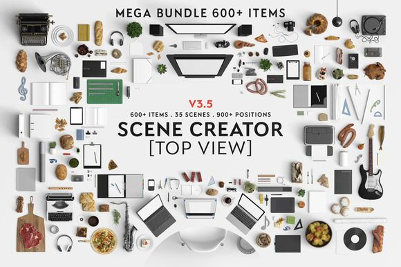 Scene creator [Top view] by Qeaql on Creative Market; Amazing food images from the top view; check out the enlarged version and scroll down on the succulent page