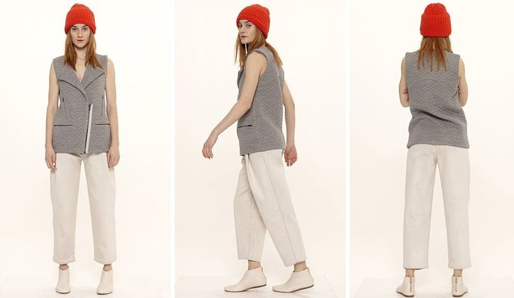 Dori Tomcsanyi hand knitted coral hat, quilted zip-up vest and pleat front trousers.  Available from September at the webshop. http://doritomcsanyi.com/