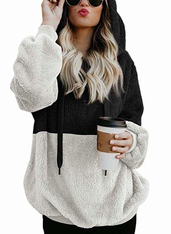 17c4ac9fab07c0 BTFBM Women Long Sleeve Zipper Sherpa Sweatshirt Soft Fleece Pullover  Outwear Coat at Amazon Women s Coats Shop