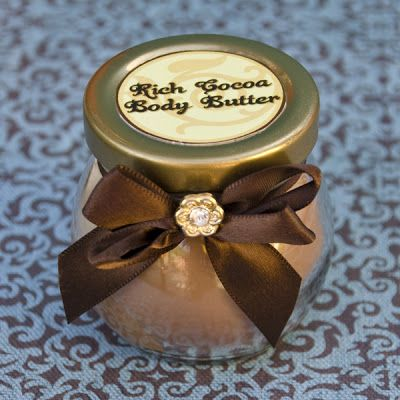 Making spa gifts for our friends for Christmas. Rich Cocoa Body Butter. Yum!
