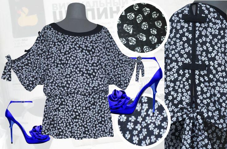 33$ Шифоновая блузка свободного покроя из шифона-поплина в мелкий цветочек для полных девушек с рукавами летучая мышь и гламурными бантиками на них  «Ромашка» Артикул 735, р50-64