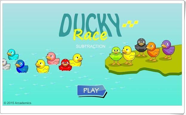 """""""Ducky Race Subtraction"""" es un juego en el que se para vencer en la carrera de patos hay que resolver restas sencillas con rapidez."""