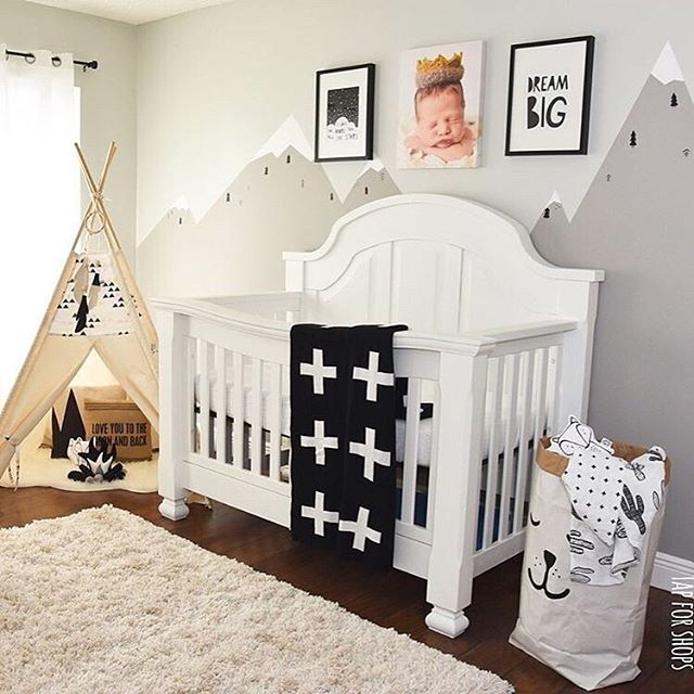 Cool Mountain Mural Makes This Baby Nursery Chic And Clean!