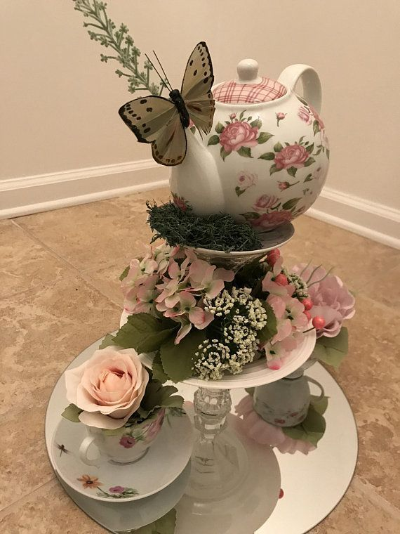 Tea With Flowers Tea Party Centerpieces Teapot Centerpiece Teacup Crafts