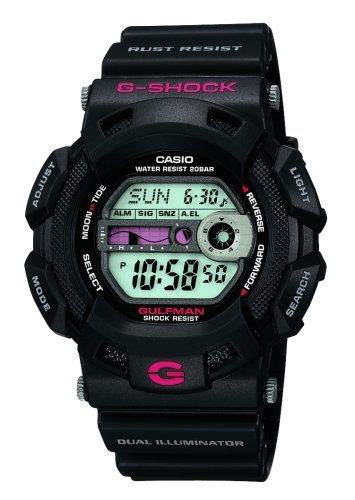 Casio Men's G9100-1 G-Shock Gulfman Tide and Moon Watch  You've been tracking the storm all week and today, there's an offshore breeze. What tide is it? Just look at your Gulfman G-Shock for the answer.   Shock-resistant watch with tide graph and moon data featuring world time, three multi-function alarms, and countdown timer Shock-resistant watch with tide graph and moon data featuring world time, three multi-function alarms, and countdown timer 51 mm resin case with mineral dial wi..