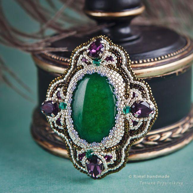 Купить «Byzance» брошь из тонированного агата и кристаллов - брошь из агата…